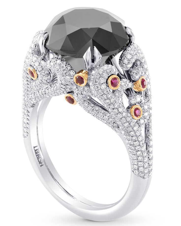 Ring in 18k white and rose gold with 7.11 ct. black diamond, 0.15 ct. t.w. rubies, and 0.79 ct. t.w. diamonds, $28,900; Leibish & Co.