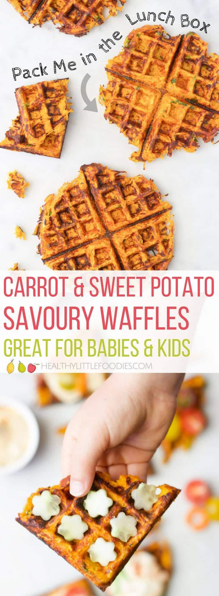Shredded Sweet Potato Savoury Waffles. A great way to get kids to eat their vegg…