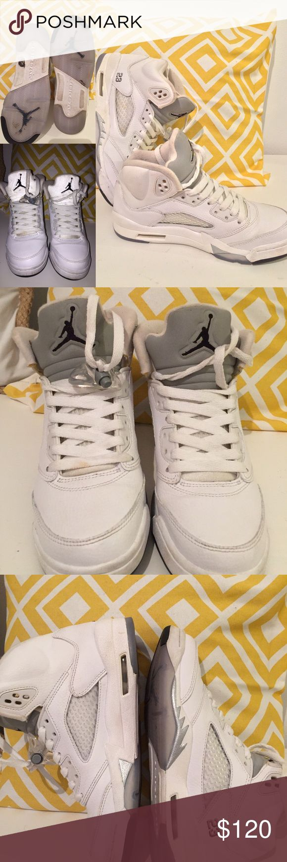 Air Jordan 5 Metallic Air Jordan 5 Metallic size 5.5 youth= 7 women    9/10 shoes are in very good condition Jordan Shoes Athletic Shoes