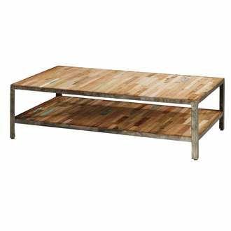 Table basse rectangulaire en m�tal et bois L120cm BESI