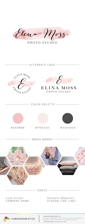 Premade Branding Kit, Premade Logo Design, Color Scheme, Fonts, Watermark, Brand Board, Mini Branding Kit - Blush Pink by ChromoCreative on Etsy