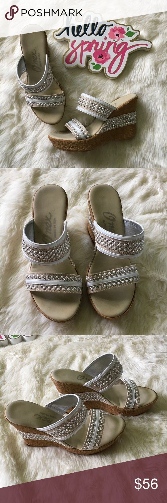 """🆕 Listing! Onex embellished wedges Gorgeous Onex embellished wedges.  Very comfortable, cushioned insides.  As shown in last picture, missing two pearl embellishments but otherwise these shoes are in like new condition.  Wedge height is 3.5"""" with a platform of 1"""" Onex Shoes Wedges"""