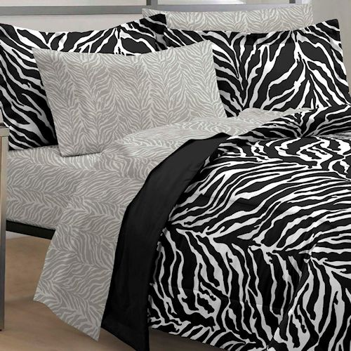 Black & White Zebra Bedding Comforter Set Twin XL Full or Queen Bed in a Bag Ensemble Teen Girl