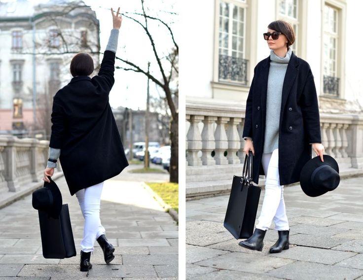 CAMMY: Białe spodnie i czarne sztyblety