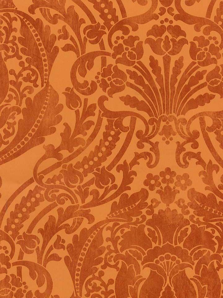 A Stunning Tangerine And Rust Damask Wallpaper From The Damask Stripes U0026  Toile Library Book At