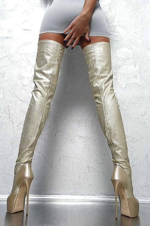 1969 ITALY LEDER HOHE Overknee Plateau D84 Lang Stiefel Stretch Boots High Heels
