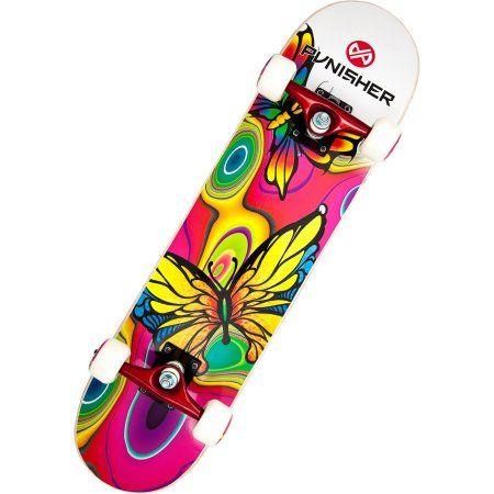 Punisher Skateboards Butterfly Jive 31.5 inch Abec-7 Complete Skateboard, Multicolor