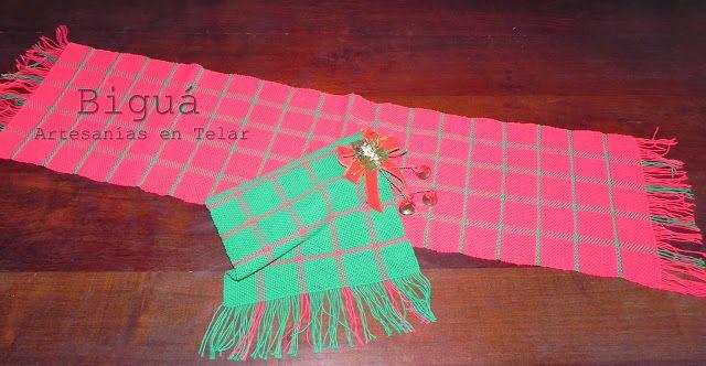 Camino de mesa en telar. Con diseño escocés