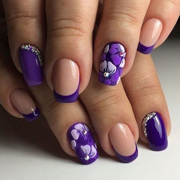 July nails, Nail designs with purple, nails under violet dress, Purple french manicure, Purple gel polish, Summer nail art , Violet nails