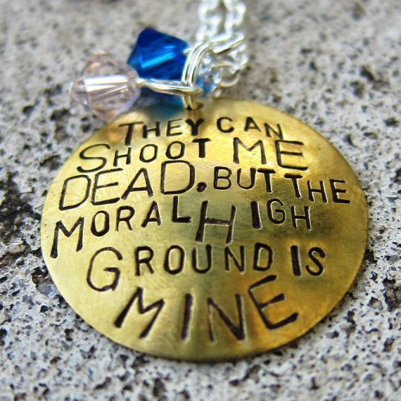 Dr Who Quote - Moral High Ground - Hand Stamped Necklace  -Made to Order-. $20.00, via Etsy.