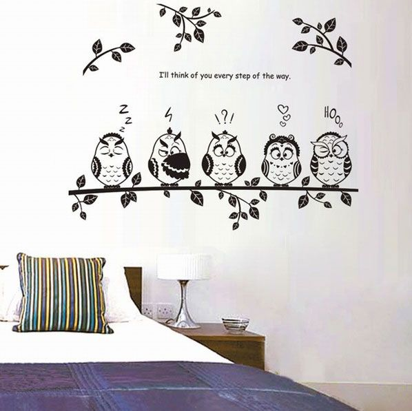 5 schattige uilen op rij als muursticker. Leuk voor op je kinderkamer, slaapkamer of kinderdagverblijf. Op werkdagen voor 16:00 besteld, morgen in huis