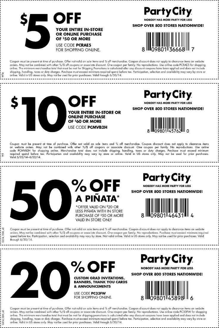 Party City Deal! Party city, Party printables free, Free