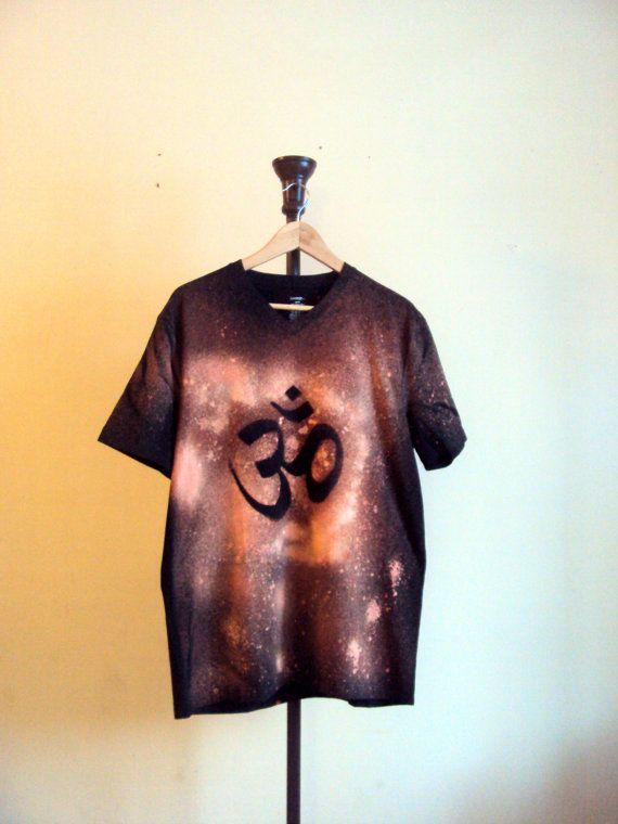 Om Yoga T-Shirt Hand Painted Unisex Top Yoga Top by GrahamsBazaar