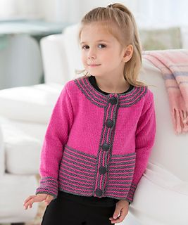 This cute cardigan is perfect to make for a little girl who is special in your life. Knit in a bright shade with grey accents, it's a modern look that girls will love!