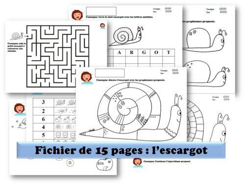 graphisme, pré-lecture, numération, labyrinthe... sur le thème de l'escargot