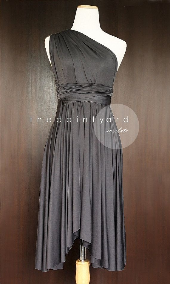 Slate Bridesmaid Convertible Dress Infinity Dress Multiway Wrap Dress Prom Dress Dark Grey Gray Charcoal