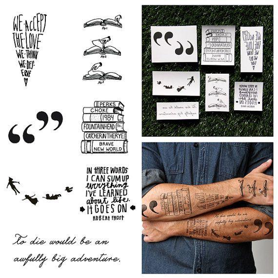 Bücherwurm Tätowierung Satz von 14 von Tattify auf Etsy