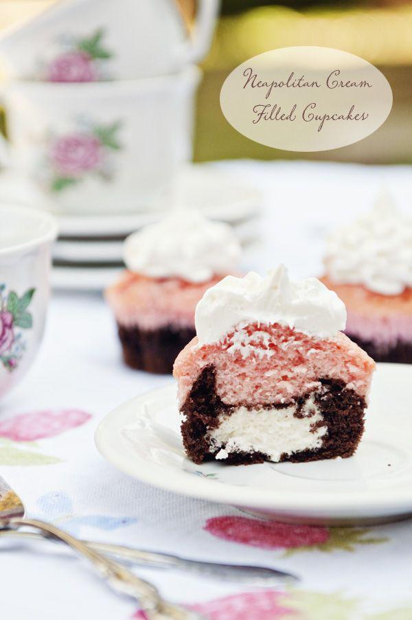 Neapolitan Cream Filled Cupcakes #baking