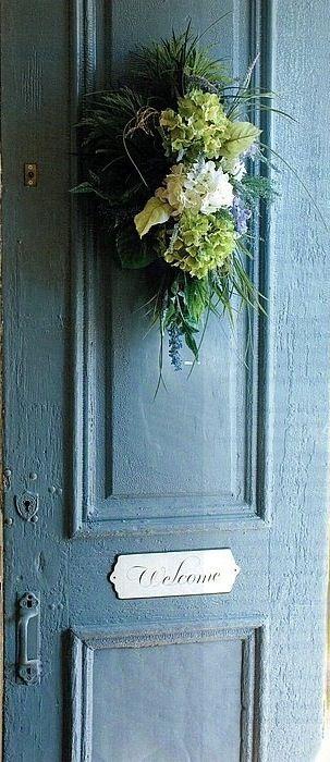 Hydrangea Welcome & Best 20+ Welcome door ideas on Pinterest   Door signs Welcome ... Pezcame.Com