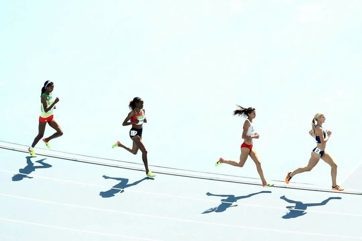 RIO DE JANEIRO, BRAZIL - AUGUST 13: Emma Coburn of the United States, Beatrice Chepkoech of Kenya, Habiba Ghribi of Tunisia and Hiwot Ayalew of Ethiopia competes in the Women's 3000m Steeplechase Round 1 on Day 8 of the Rio 2016 Olympic Games at the Olympic Stadium on August 13, 2016 in Rio de Janeiro, Brazil. (Photo by Cameron Spencer/Getty Images)