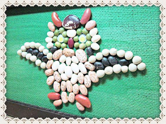 Owl Art Work~Creative Bean Art~Whimsical Art~Framed And Ready To Hang