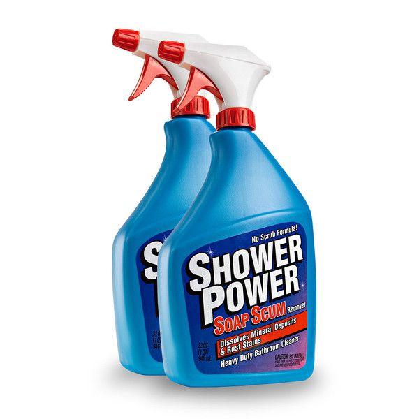 Orange power shower bath and tile cleaner ensilage fork