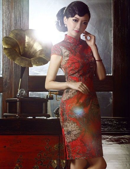 Red Floral Chinese Qi Pao