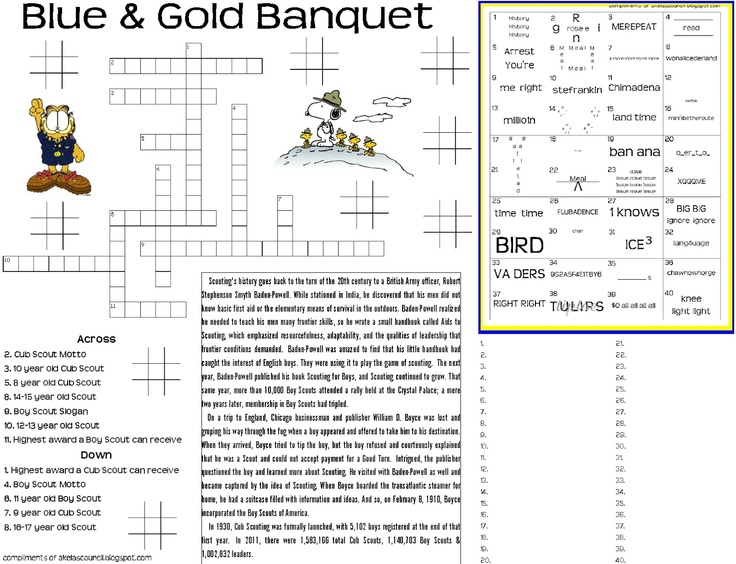 Blue and Gold Placemat PRINTABLE. This site has lots of great Cub Scout Ideas and neckerchief slide ideas compliments of Akela's Council Cub Scout Leader Training.