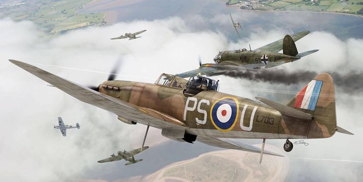 Boulton Paul Defiant Mk1 of 264 Sqn, by Adam Tooby.  A failure as a day fighter with no forward firing guns, this two seat turret design faired better as an early WW2 night fighter.