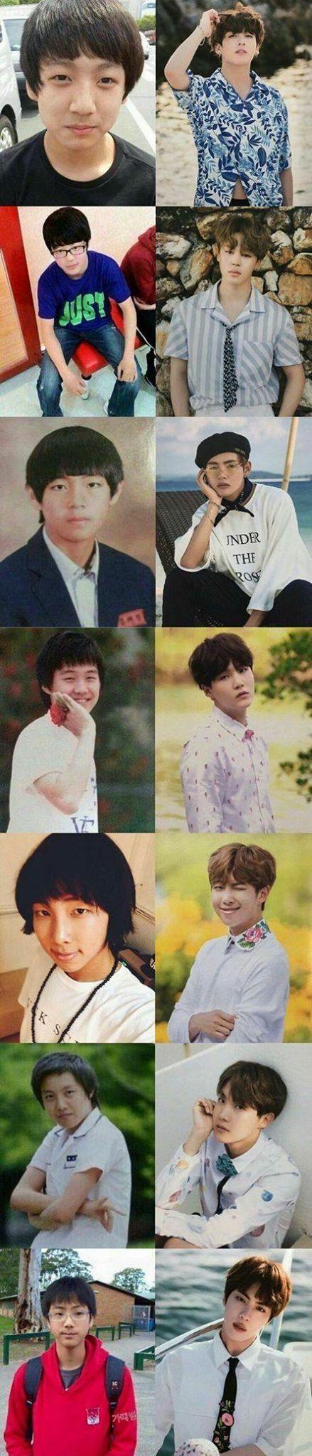BTS | ante e depois ( é os nossos meninos cresceram e mudaram muito )