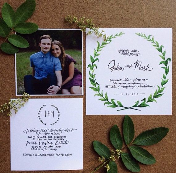 Boho-Hipster-Earthy Wedding Invitations Hand by gallantandsuch