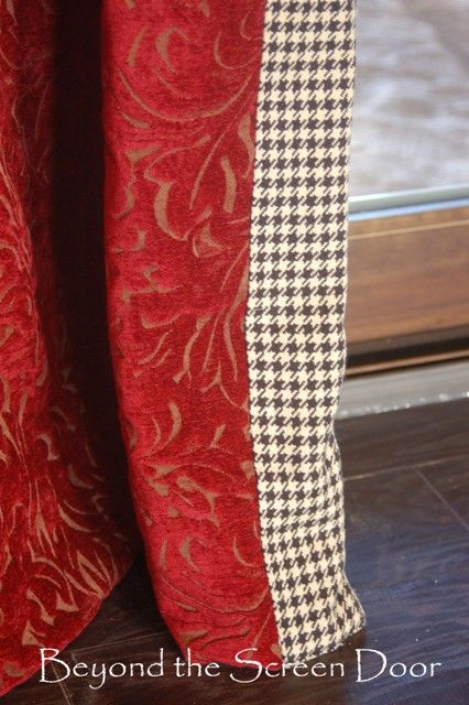 Floor Length Chenille Curtains with Houndstooth Lining | Beyond the Screen Door
