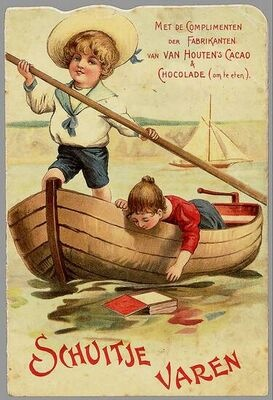 van Houten Cacao vintage advertising card
