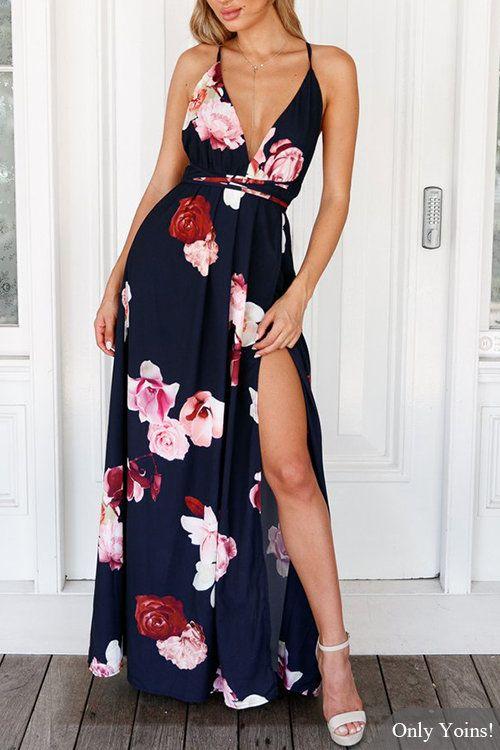 V-neck Random Floral Print Open Back Splited Hem Dress