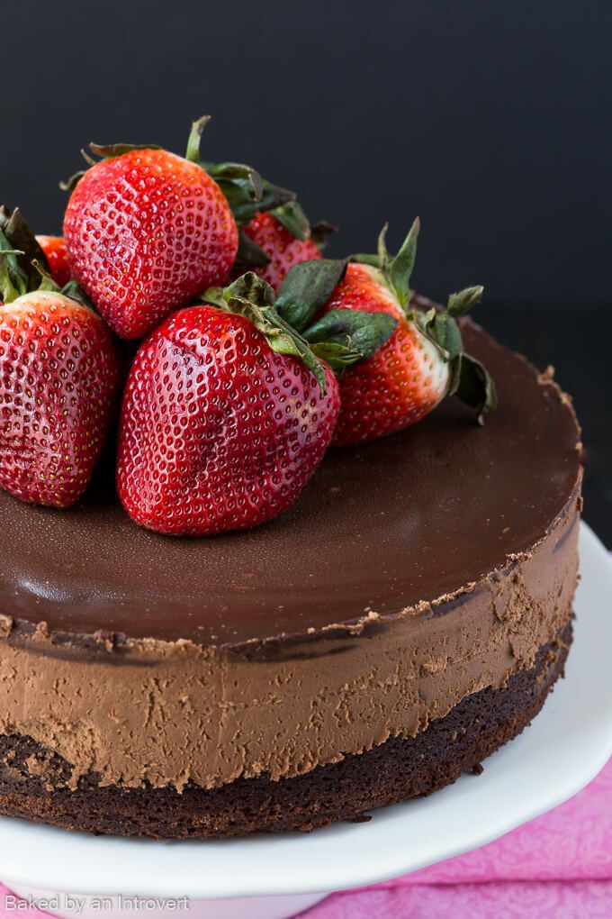 Triple Chocolate Mousse Cake via @introvertbaker