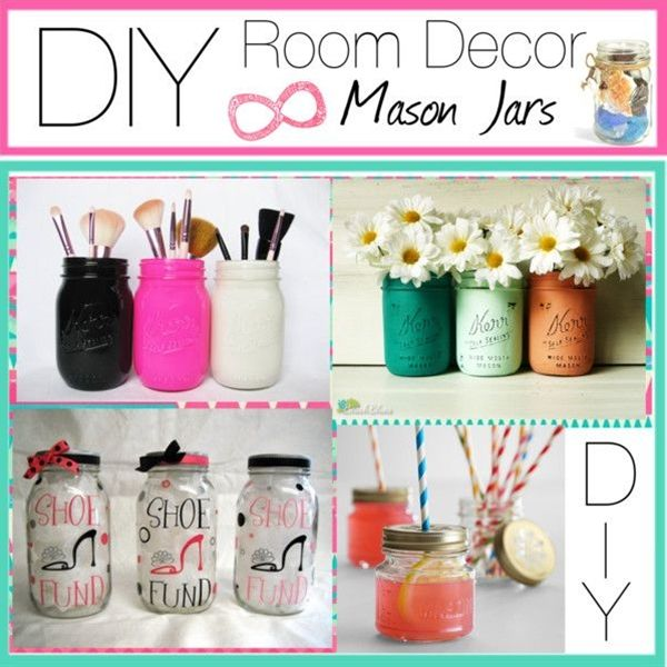 1.) makeup brush holder! Spray paint your mason jar (optional) then stick your makeup brushes in! Its that simple!   2.) flower vase! Same th