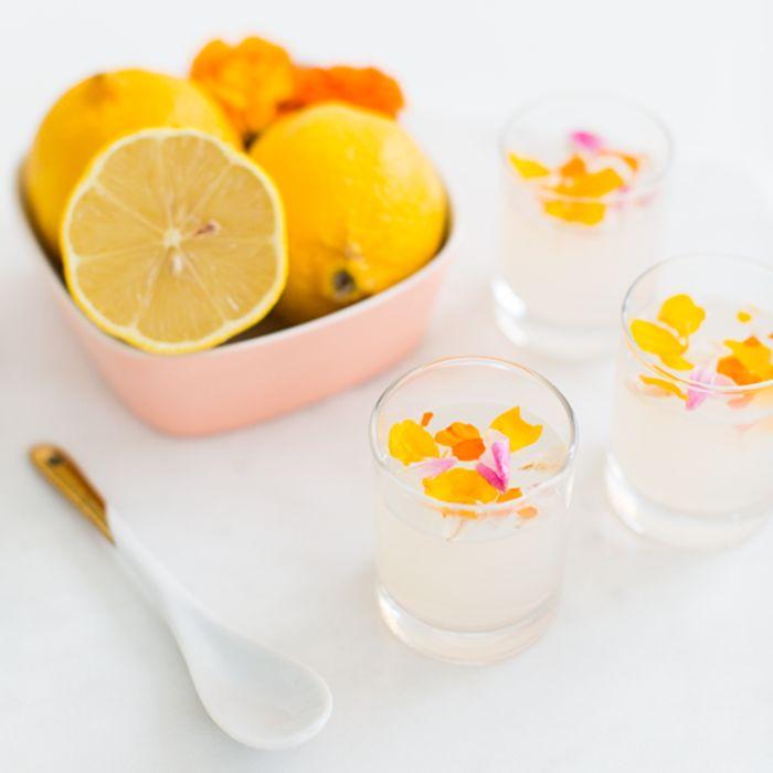 Edible Flower Lemon Jello Shot