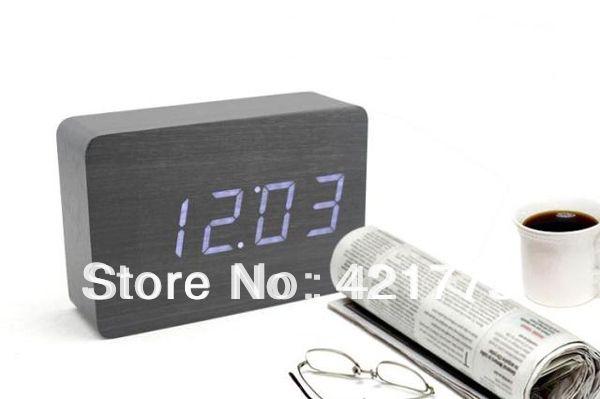Retângulo de madeira relógio Digital LED azul vermelho relógios de mesa mesa alishoppbrasil