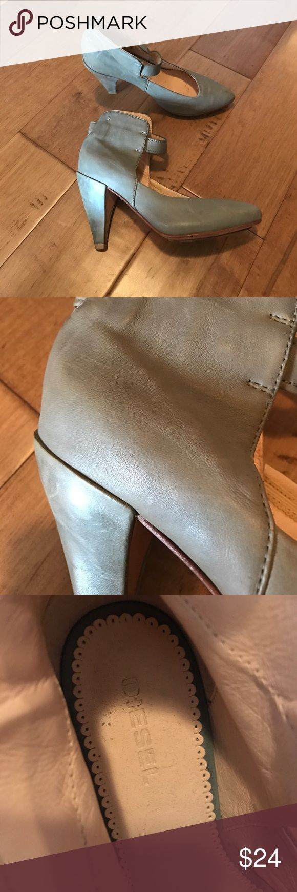 Diesel Grey Shoes Distressed taupe-grey leather. Soft ankle wrap in leather with elastic stretchy band. In good condition! By Diesel. Heel is about 2.5 inches. Diesel Shoes Heels