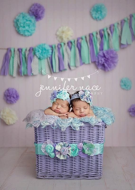 Lila lavender and aqua ruffle chiffon flower headband by Birdie Baby Boutique on Etsy
