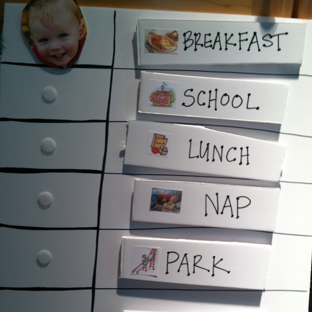 Toddler transition board, for the little guy who needs a visual schedule : ) aka John Con