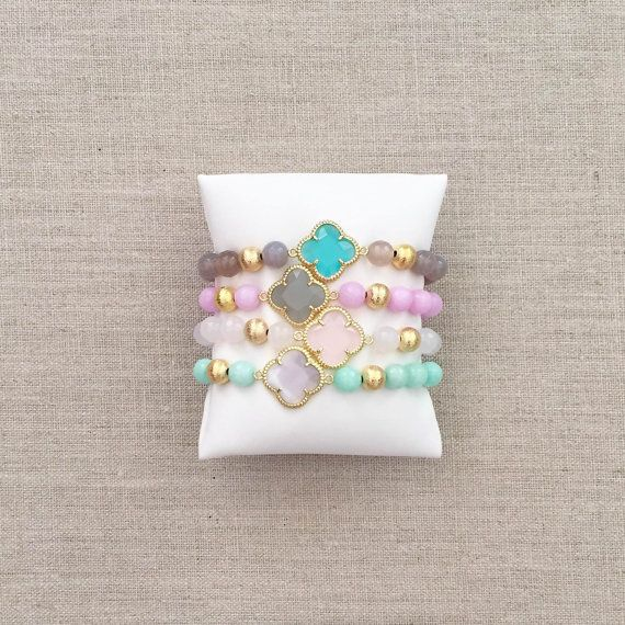 A Loves Affect Original  These beautiful semi-precious gemstone and quatrefoil connector stretchies are the perfect addition to your arm party! They