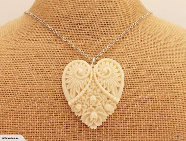 Cream 3D Heart Pendant on Silver Chain | Trade Me