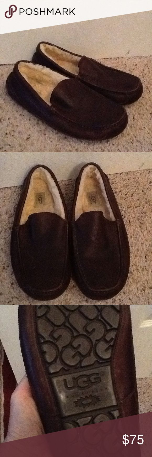 UGG MENS BROWN LEATHER SLIPPERS CAR SHOES sz 12 UGG sz 12 US mens brown leather slippers/ car shoes.  Worn just twice in the house,  Excellent condition.  Bottoms are near new.  UGG logo adorns the entire bottom sole.  Great slippers.  Will ship right away.  Check out my other designer items UGG Shoes Loafers & Slip-Ons