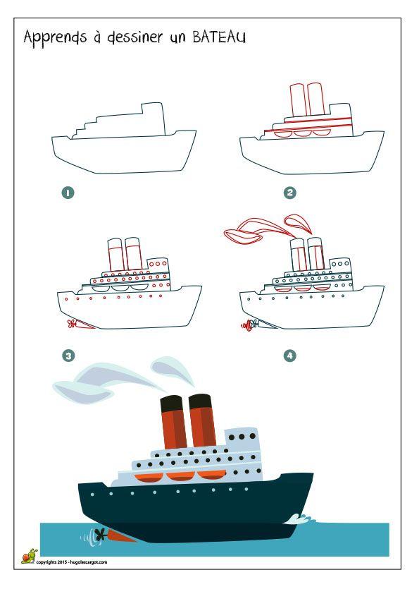 Apprends à dessiner un bateau