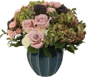Pink Patina :: Martins, the Flower People A vintage luxe design. Antique hydrangeas and pink roses in muted tones are designed in a substantial ceramic vase. Sophisticated and opulent.  $145.00