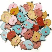 Moda 40 unids de dibujos animados mezcla de colores de madera en forma de pájaro costura cabida los botones Scrapbook para DIY herramienta ropa accesorio(China (Mainland))