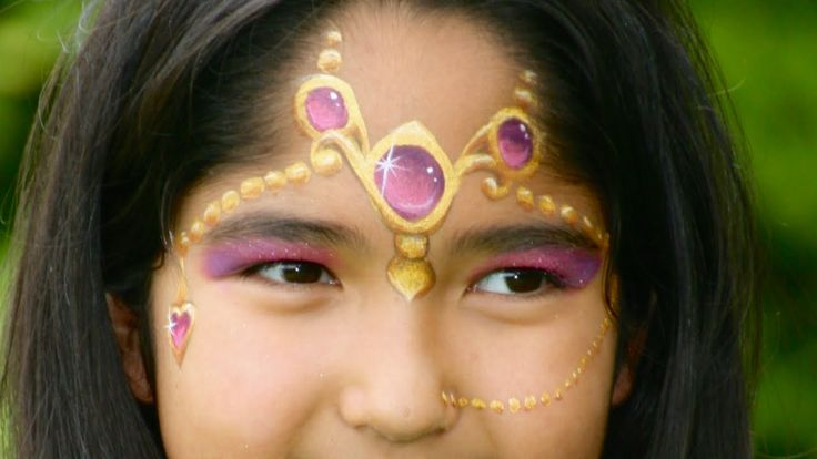 Oriental princess face painting tutorial - Arabian princess makeup