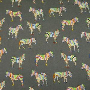 Zebras On Grey Cotton Fabric