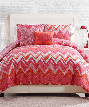 Loving this Pink Chevron Bedding Set on #zulily! #zulilyfinds